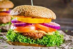 Вкусные домодельные 2 гамбургера Стоковое Изображение RF