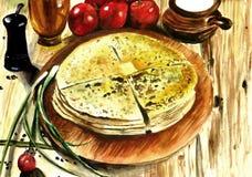 Вкусные плоские пироги с заполнять от картошек и сыра иллюстрация вектора