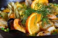 вкусные продукты моря paella Стоковое Фото