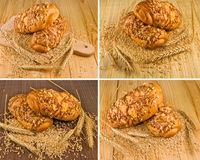 вкусные плюшки для завтрака на крупном плане деревянного стола Стоковая Фотография