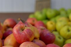 Вкусные свежие красные яблоки на гастрономе Купите & съешьте естественную еду витамина Отдел рынка фермера в продовольственном ма стоковая фотография rf