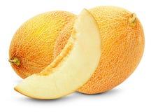 Вкусные дыни изолированные на белой предпосылке Стоковые Фото