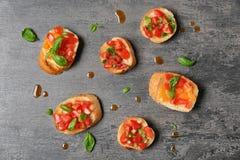 Вкусные bruschettas с томатами Стоковое фото RF