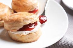 Вкусные scones с свернутыми сливк и вареньем на плите Стоковые Изображения