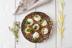 Вкусные tartlets с сливк сыра, плоским положением Стоковые Фото
