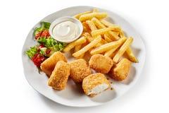 Вкусный голландский kibbeling, укус определил размер части рыб Стоковые Изображения RF