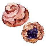 Вкусный десерт торта и плюшки сладкий r Изолированный элемент иллюстрации десертов иллюстрация вектора