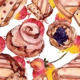 Вкусный десерт торта и плюшки сладкий r r иллюстрация вектора