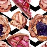 Вкусный десерт торта и плюшки сладкий r r бесплатная иллюстрация