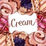 Вкусный десерт торта и плюшки сладкий r E иллюстрация штока
