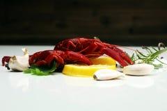 вкусный кипеть крупный план раков на таблице, обедающем морепродуктов Стоковое фото RF