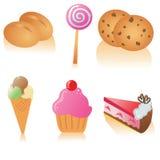 вкусный комплект иконы еды Стоковое фото RF