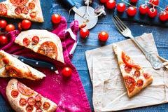 Вкусный ручной работы хлеб пиццы томатов иллюстрация вектора