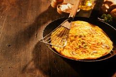 Вкусный смачный омлет яичка с грибами Стоковое Изображение