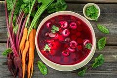 Вкусный суп бураков с овощами и варениками стоковая фотография rf