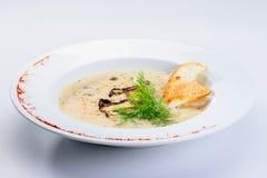 Вкусный суп сливк гриба с петрушкой и специями в белом pla Стоковые Изображения RF