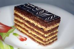 Вкусный шоколадный торт на плите стоковое изображение rf