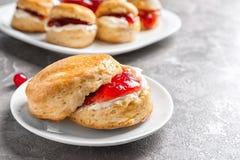 Вкусный scone с свернутыми сливк и вареньем на таблице Стоковая Фотография
