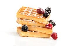 Вкусный waffle на белизне. Стоковое Фото
