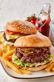 2 вкусных гамбургера, который служат с французскими фраями Стоковое Фото