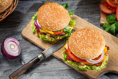 2 вкусных домодельных бургера Стоковое Изображение RF