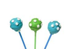 3 вкусных покрашенных cakepops Стоковая Фотография RF