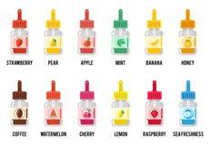 вкусы E-жидкости Вектор знаков сока или vape Vaping бесплатная иллюстрация