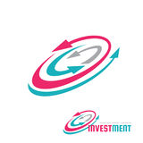 Вклад - иллюстрация концепции шаблона логотипа вектора Знак графика системы стрелок Абстрактный символ значка стратегии бизнеса Стоковое Изображение