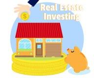 Вклады в недвижимости Приобретение красивого дома businessman& x27; рука s с золотой монеткой Копилка свиньи около монеток иллюстрация штока