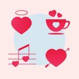 включенная икона сердца архива 8 eps Концепция года сбора винограда сердца Стоковые Изображения RF