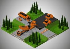 Включили строительство дорог и машинное оборудование, который стоковые изображения rf