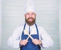 Владением шеф-повара хипстера ложка бородатым деревянная Kitchenware и концепция варить Позволяет вкусу попытки Добавьте некоторы стоковые изображения