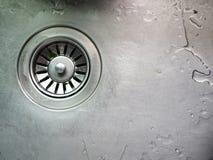 Влажная раковина нержавеющей стали с стекая отверстием Стоковое Изображение