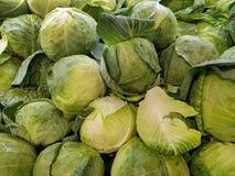 Влажные головы капусты на рынке стоковые фото