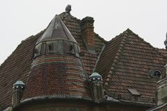 Влажные крыши плитки синь зодчества детализирует небоскреб неба Старые крыши стоковые фото