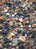 Влажный крупный план камешк-камня на пляже различных ярких цветов Стоковое Изображение RF