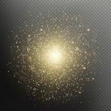 Влияние верхнего слоя фейерверков золотого взрыва рождества и Нового Года блестящего сверкная роскошное 10 eps бесплатная иллюстрация