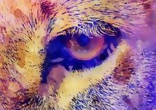 Влияние глаза и графика льва коллаж компьютера Стоковое Изображение