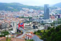 Влияние переноса наклона горизонта города Бильбао стоковое фото
