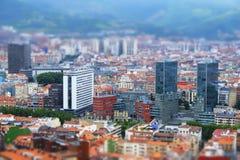 Влияние переноса наклона города Бильбао стоковые изображения rf