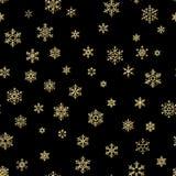 Влияние украшения праздника веселого рождества Картина золотой снежинки безшовная 10 eps иллюстрация вектора