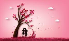 2 влюбленноеся под деревом влюбленности иллюстрация штока