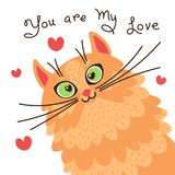 Влюбленности кота красного цвета вы Карточка с сладостным котенком имбиря который признавается в влюбленности также вектор иллюст Стоковые Изображения RF