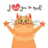 Влюбленности кота красного цвета вы Карточка с сладостным котенком имбиря который признавается в влюбленности также вектор иллюст Стоковая Фотография RF