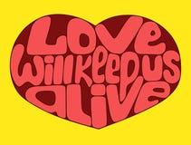Влюбленность будет держать нас живой Яркое искусство вектора с сердцем валентинки и литерность закавычат Стоковые Изображения