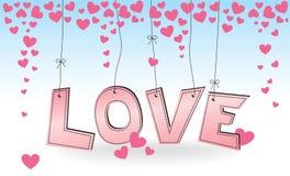 ВЛЮБЛЕННОСТЬ - вися розовые письма с сердцами Стоковое фото RF