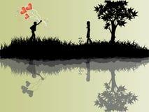 влюбленность девушки воздушного шара к Стоковое Изображение
