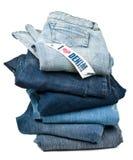 влюбленность джинсовой ткани i над белизной Стоковые Фотографии RF