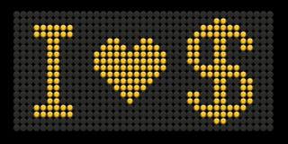 влюбленность доллара i кнопки доски формулирует желтый цвет Стоковые Фото