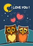Влюбленность иллюстрации 2 милых сыча в любов мое Валентайн Карта Валентайн я тебя люблю, мое Валентайн иллюстрация штока